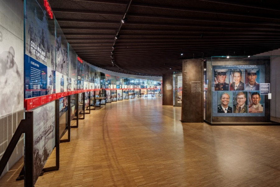 A timeline leads visitors through a narrative telling of veteran history