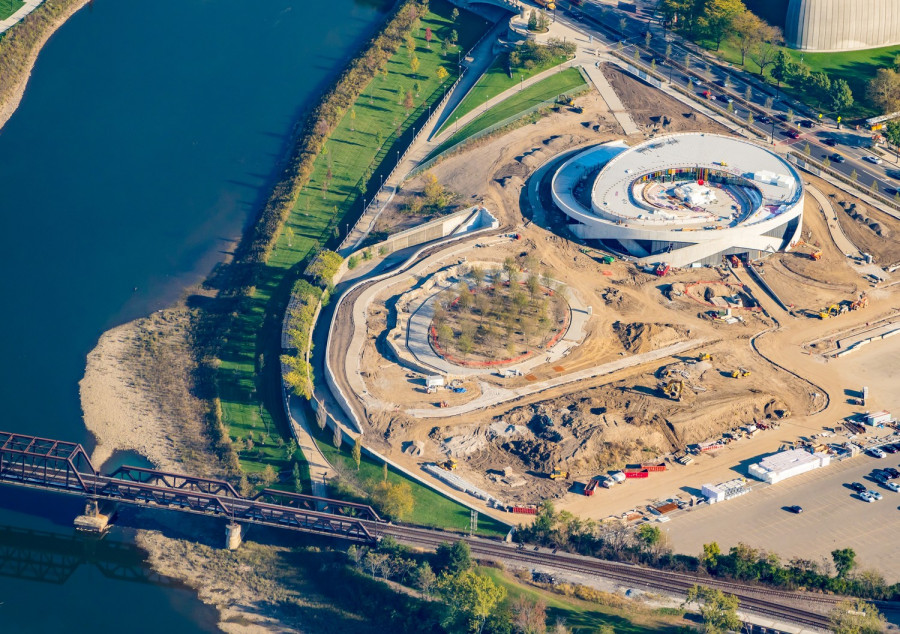 Aerial View of National Veterans Memorial and Museum while under construction